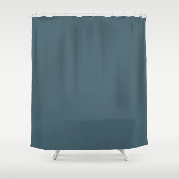 Deep Aquamarine Blue-Green Solid Color Pairs Farrow & Ball 2021 Color of the Year Stiffkey Blue 281 Shower Curtain