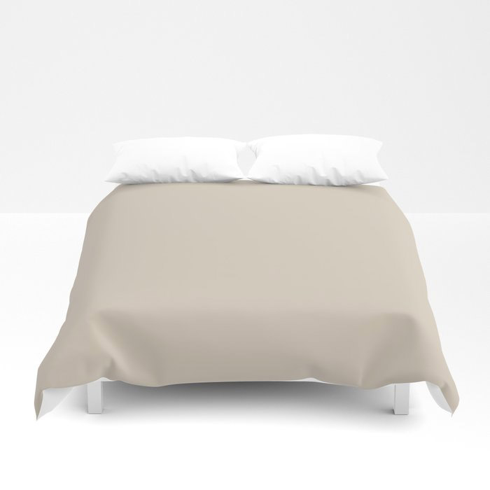 Light Beige Solid Color Jolie 2021 Color of the Year Uptown Ecru Duvet Cover