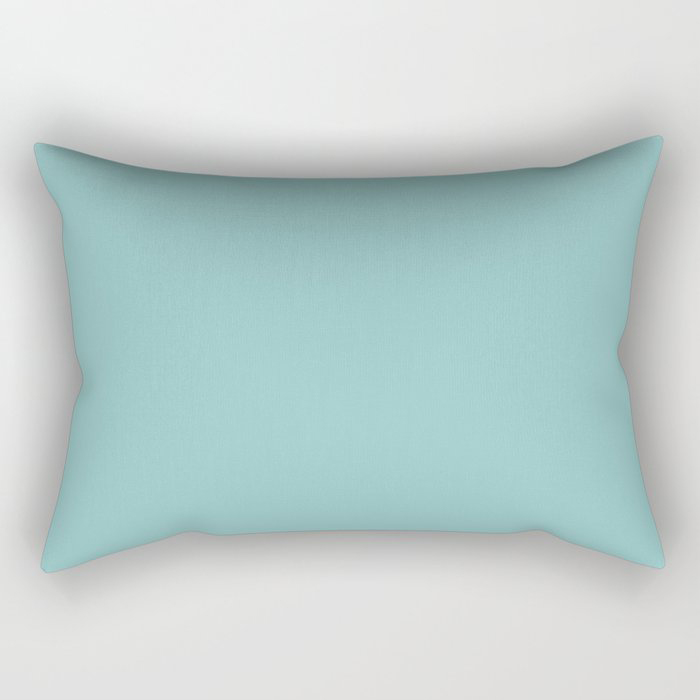 Mediterranean Breeze Aquamarine Solid Color Pairs To PPG 2021 Trending Hue Aqua Fiesta PPG1147-4 Rectangular Pillow