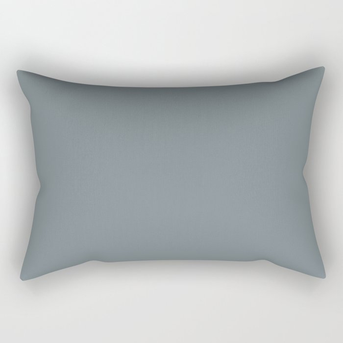 Mid Tone Slate Blue Grey Solid Color Pairs To Valspars 2021 Color of the Year Academy Gray 5001-2A Rectangular Pillow