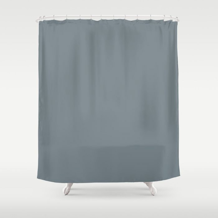 Mid Tone Slate Blue Grey Solid Color Pairs To Valspars 2021 Color of the Year Academy Gray 5001-2A Shower Curtain