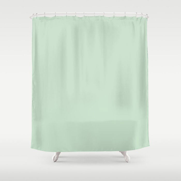 Minty Fresh Green Solid Color Pairs To Behr's 2021 trending color Wishful Green M410-2 Shower Curtain