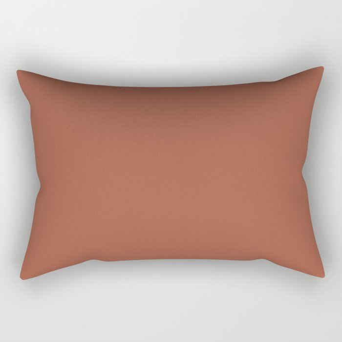 Red Clay Brown Solid Color Behr's 2021 Trending Color Kalahari Sunset MQ1-25 Rectangular Pillow
