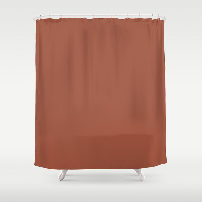 Red Clay Brown Solid Color Behr's 2021 Trending Color Kalahari Sunset MQ1-25 Shower Curtain