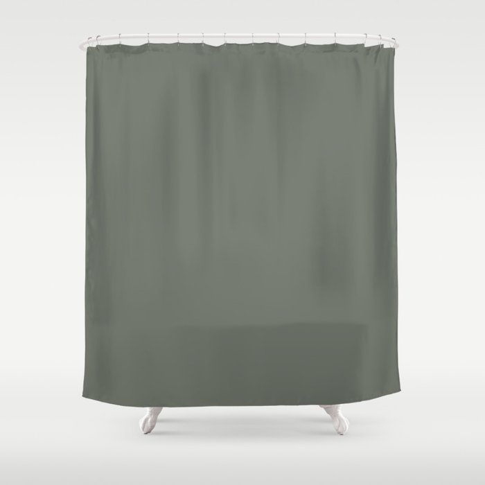 Rich and Moody Green Solid Color Pairs To Pratt & Lambert 2021 Color of the Year Contemplative 420F Shower Curtain