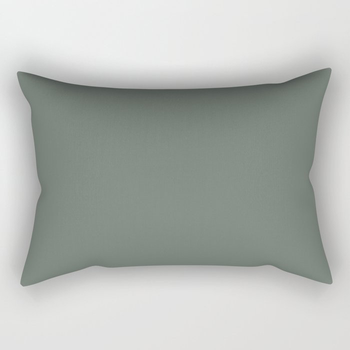 Rustic Forest Green Solid Color Pairs Farrow and Ball 2021 Color of the Year Green Smoke 47 Rectangular Pillow