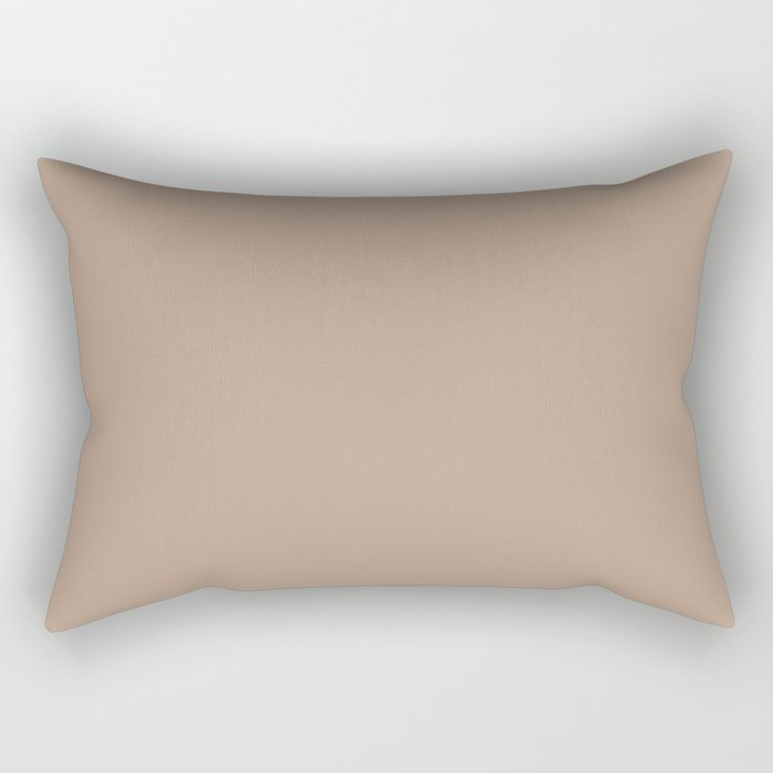 Soft Mid-Tone Beige Solid Color Pairs To Behr's 2021 Trending Color Sierra N240-4 Rectangular Pillow