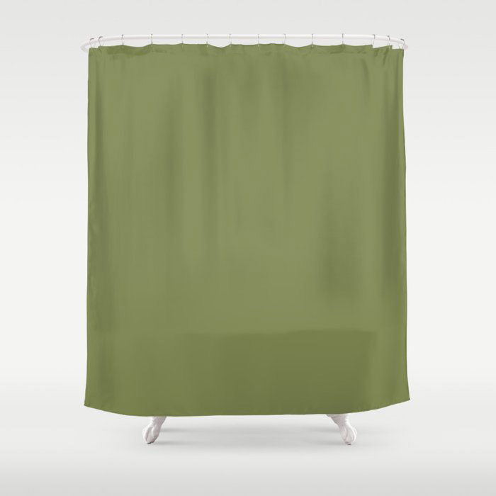 Summer Exploration Green Solid Color Pairs Farrow and Ball 2021 Color of the Year Sap Green W56 Shower Curtain