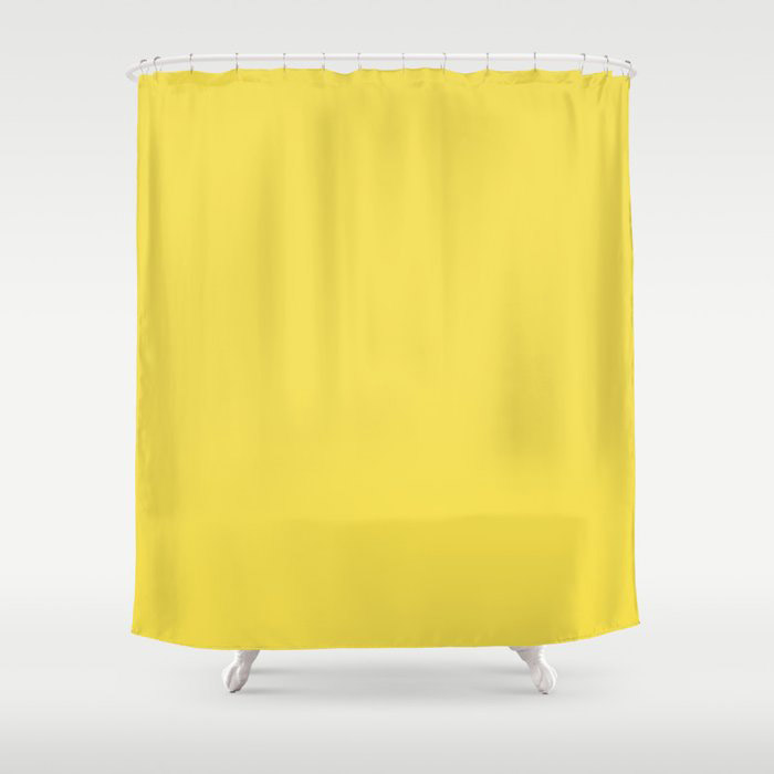 Vivid Yellow Solid Color Pairs Pantone 2021 Color of the Year Illuminating 13-0647 Shower Curtain