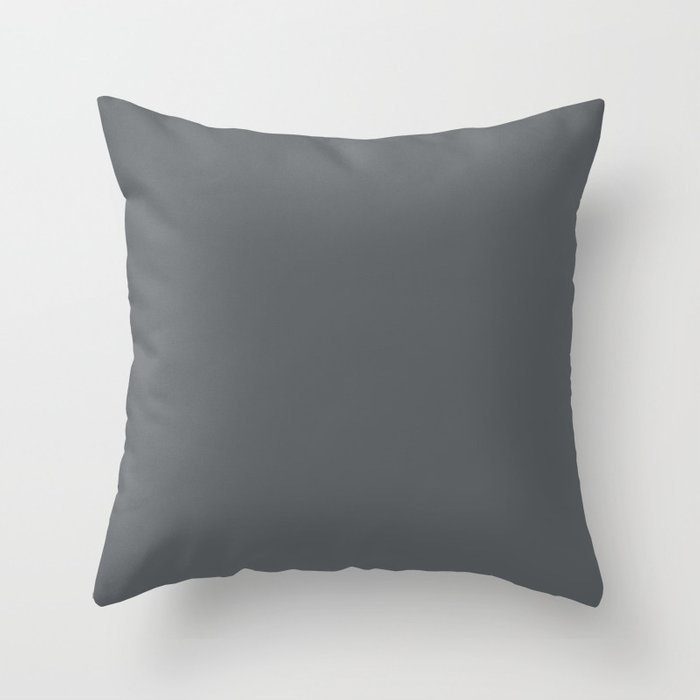 Best Seller Dark Lead Gray Solid Color Pairs w/ Behr Paint's Graphic Charcoal Throw Pillow