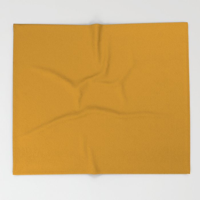 Best Seller Golden Mustard Solid Color Pairs w/ Sherwin Williams 2020 Trending Hue Auric Gold SW6692 Throw Blanket