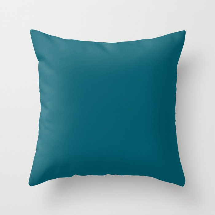 Best Seller Sherwin Williams Trending Colors of 2019 Oceanside (Dark Aqua Blue) SW 6496 Solid Color Throw Pillow