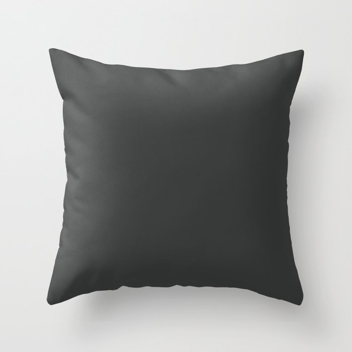 Dark Charcoal Gray Solid Color Parable to Pantone Pirate Black 19-4305 Throw Pillow