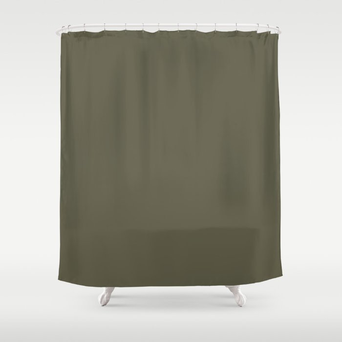 Dark Muted Olive Green Solid Color - Seaweed - Moss - Green Brown Shower Curtain