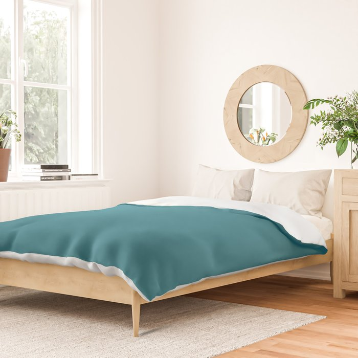 Profound Tranquility Dark Aquamarine Blue Green Solid Color Pairs To Sherwin Williams Great Falls SW 6495 Duvet Cover