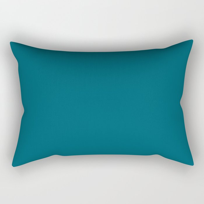 Best Seller Sherwin Williams Trending Colors of 2019 Oceanside (Dark Aqua Blue) SW 6496 Solid Color Rectangular Pillow