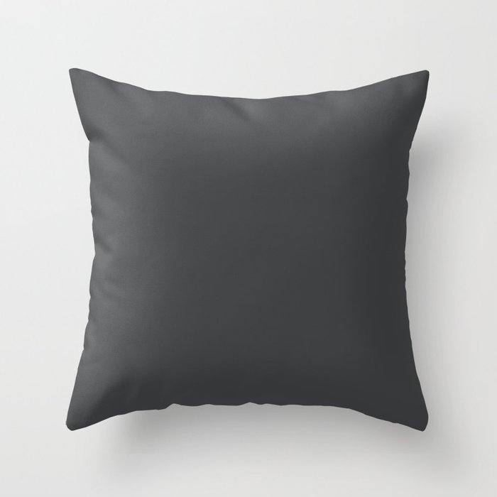 Dunn & Edwards 2019 Curated Colors Dark Engine (Dark Gray Charcoal Gray) DE6350 Solid Color Throw Pillow