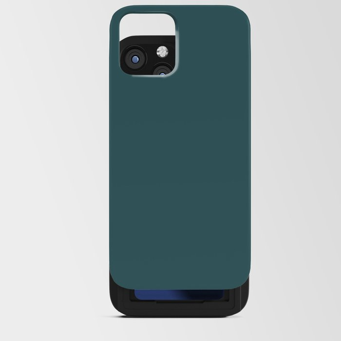 Rich Aqua Blue Green Solid Color Accent Shade / Hue Matches Sherwin Williams Deep Sea Dive SW 7618 iPhone Card Case