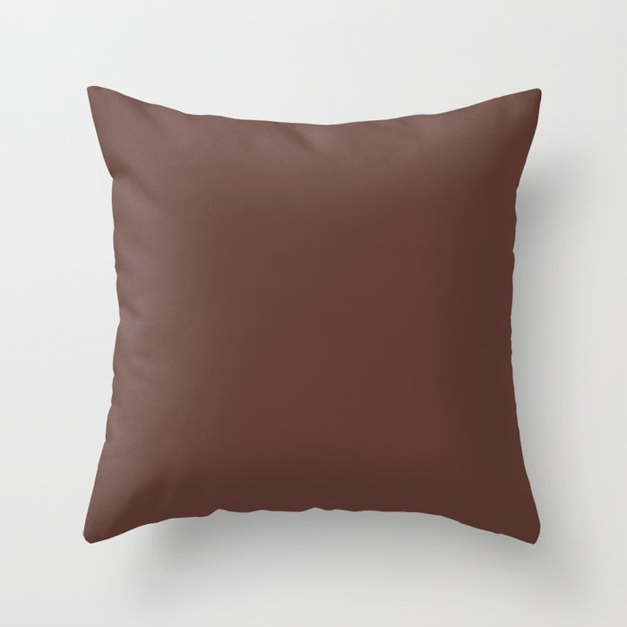 Dark Brown Solid Color 2022 Spring Summer Trending Hue Coloro Sepia 019-27-14 Throw Pillow