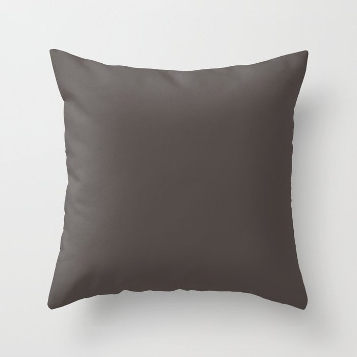 Dark Brown Solid Hue - 2022 Color - Shade Pairs Dunn and Edwards Espresso Macchiato DET680 Throw Pillow