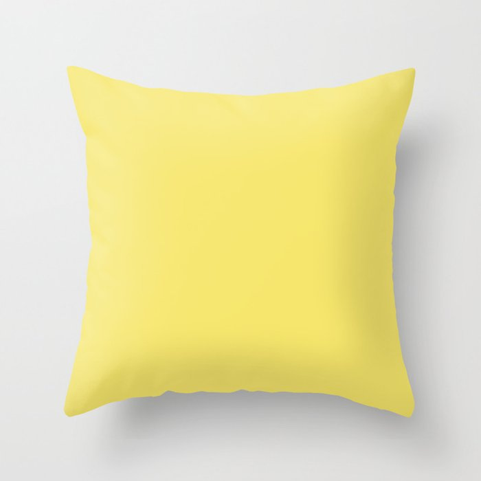 Mid-tone Yellow Solid Color 2022 Spring/Summer Trending Hue Coloro Sunny Yellow 045-87-33 Throw Pillow
