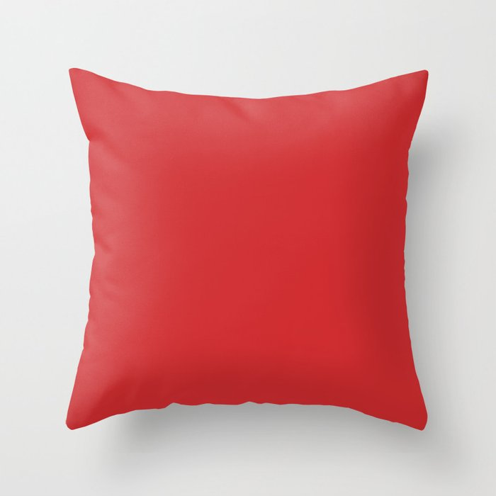 Scarlet Red Solid Color 2022 Spring/Summer Trending Hue Coloro Red Glow 013-43-37 Throw Pillow