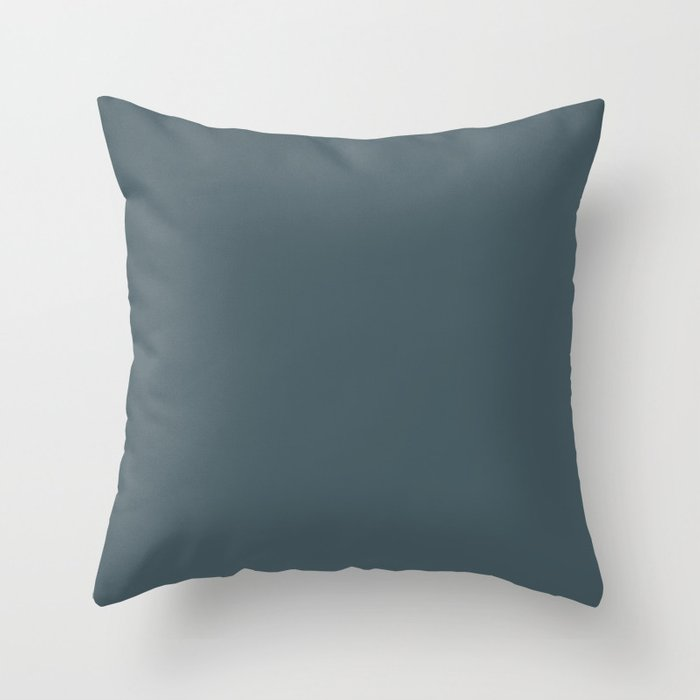 Dark Blue Solid Hue - 2022 Color - Shade Pairs Dunn and Edwards Blue Tapestry DET545 Throw Pillow