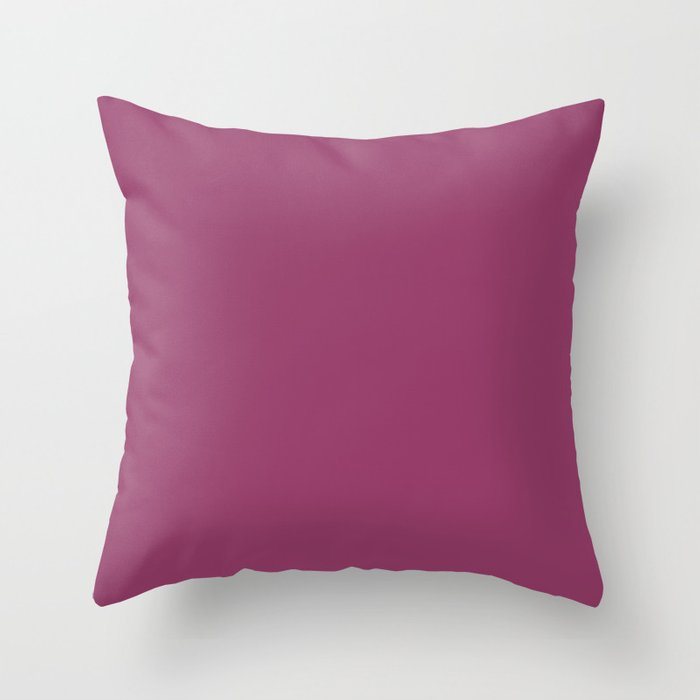 Deep Purple Pink Solid Color 2022 Trending Hue Sherwin Williams Dynamo SW 6841 Throw Pillow