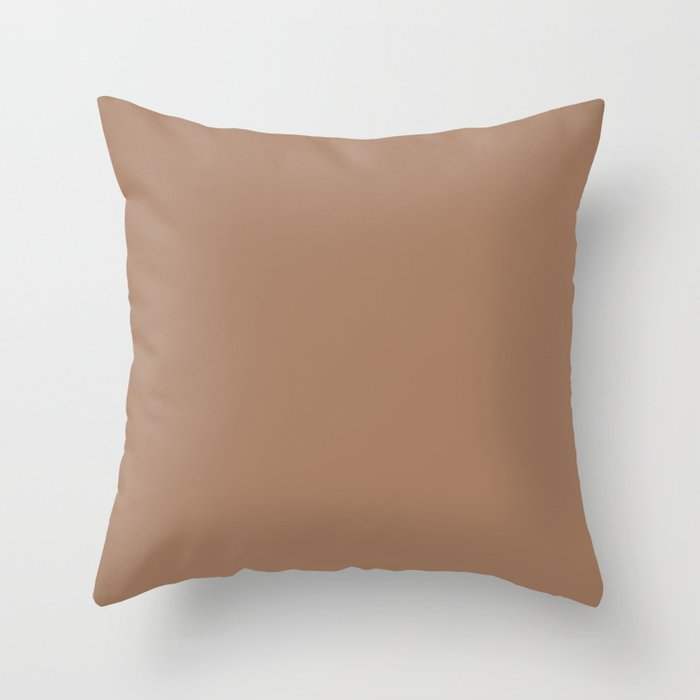 Earthy Medium Brown Solid Color Pairs Valspars 2022 Color of the Year Rustic Oak 2007-7B Throw Pillow