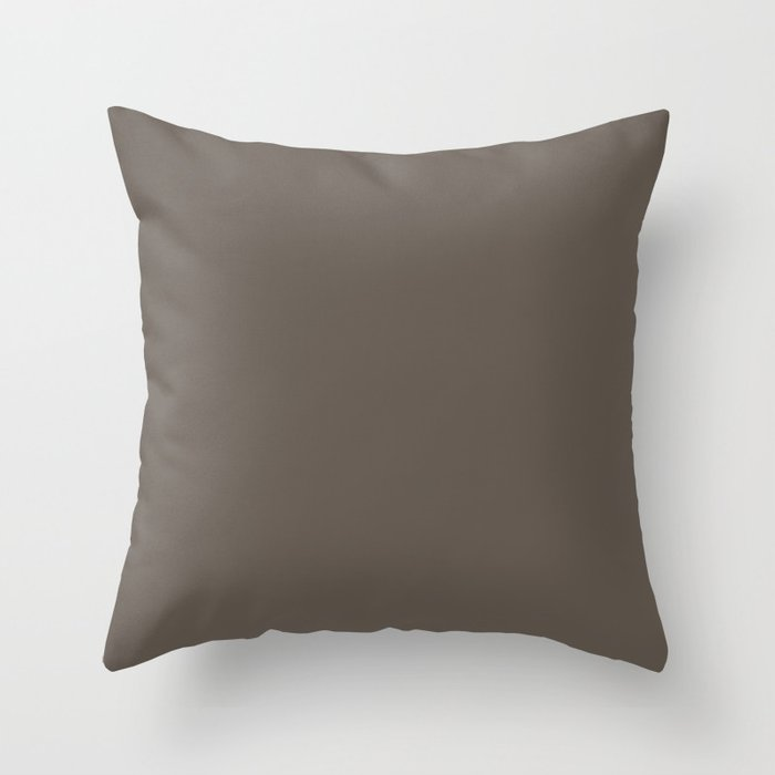 Grayed Dark Brown Solid Color - Popular Shade 2022 PPG Intrigue PPG1019-7 Throw Pillow