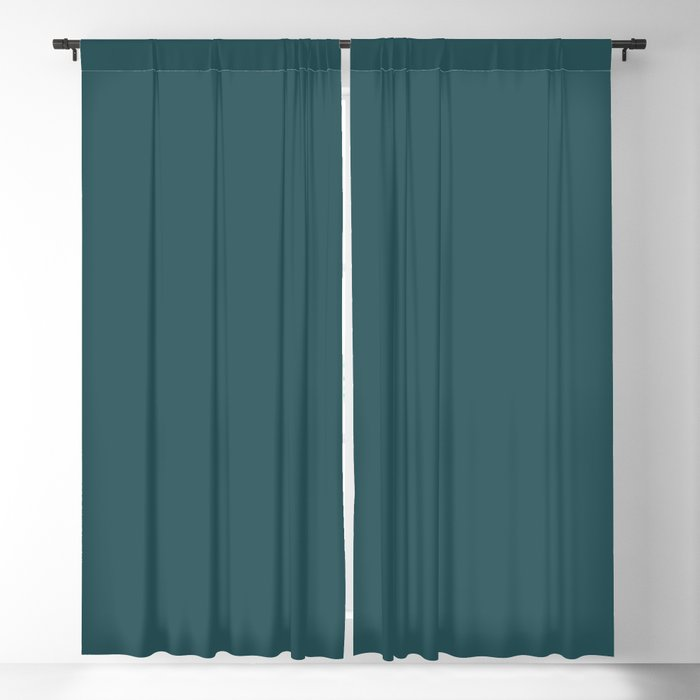 Nautical Teal Solid Color Pairs Behr 2022 Trending Hue - Shade - Ocean Abyss MQ6-01 Blackout Curtain