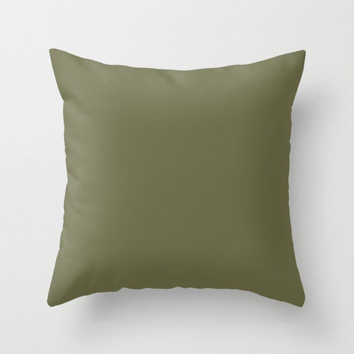 Earth-tone Green Solid Color Throw Pillow Pairs Pantone Olive Branch Green 18-0527 2022 Autumn/Winter Key Color - Shade - Hue - Colour