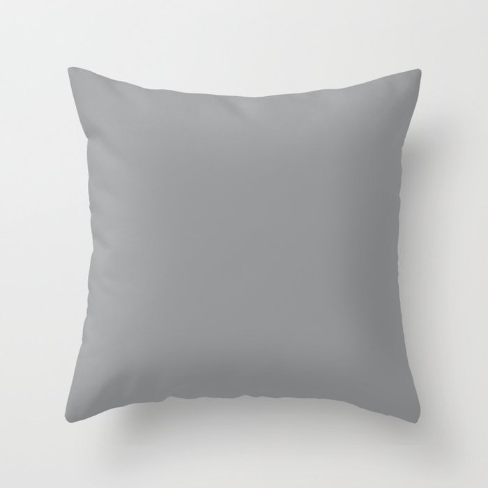 Mid-tone Grey Solid Color Throw Pillow Pairs Pantone Ultimate Gray 17-5104 2022 Autumn/Winter Key Color - Shade - Hue - Colour