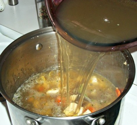 Pouring Stock into Pot