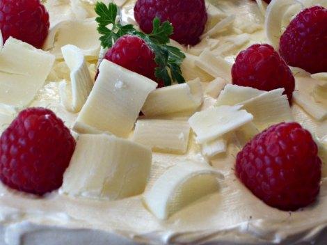 White Chocolate Curls and Raspberries