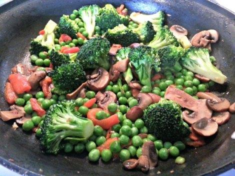 Stir frying the veggies