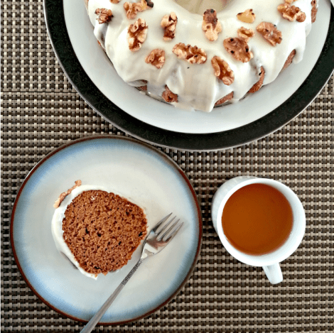 Bourbon Pumpkin Gingerbread Cake with Goat Cheese Frosting