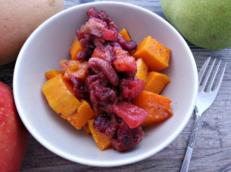 Cranberry Relish over Roasted Butternut Squash