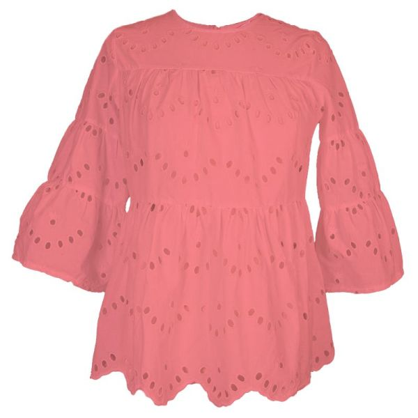 Coral pink cute   3/4 bell sleeve lace top with a wave bottom, wave lace design, cinched waist,   and high scoop neckline.