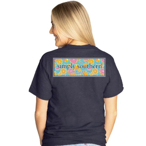 Heather   navy short sleeve shirt with the Simply Southern logo with a zest patterned   background on the back. Small Simply Southern logo across the front chest.   Pre-shrunk and ring-spun 65% polyester, 35% cotton with ribbed crew neckline.   Unisex sizing.