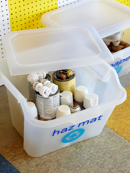 Use a Hazardous Materials Bin // How to Organize Your Recyclables // simplyspaced.com