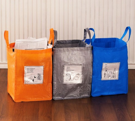 Use Car Recycling Bags for Recyclables // How to Organize Your Recyclables // simplyspaced.com