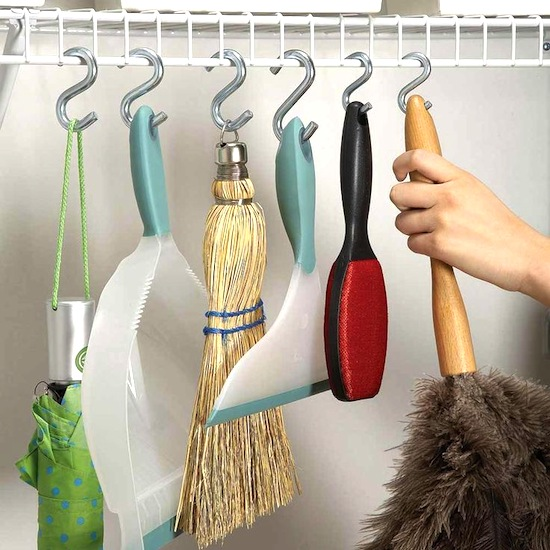 S-Hooks for Cleaning Supplies // 14 ways to Organize with S-Hooks // simplyspaced.com