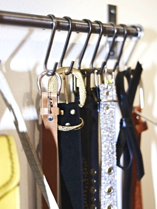 S-Hooks for Belts // 14 ways to Organize with S-Hooks // simplyspaced.com