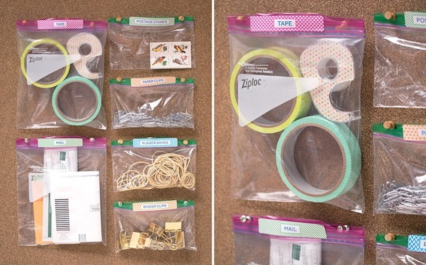 Office Supplies Organizing // How to Organize your Entire Life with Ziploc Bags // #office #organizing // simplyspaced.com