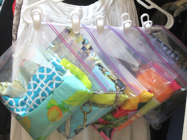 Scarf Organizing // How to Organize your Entire Life with Ziploc Bags // #scarf #organzing // simplyspaced.com