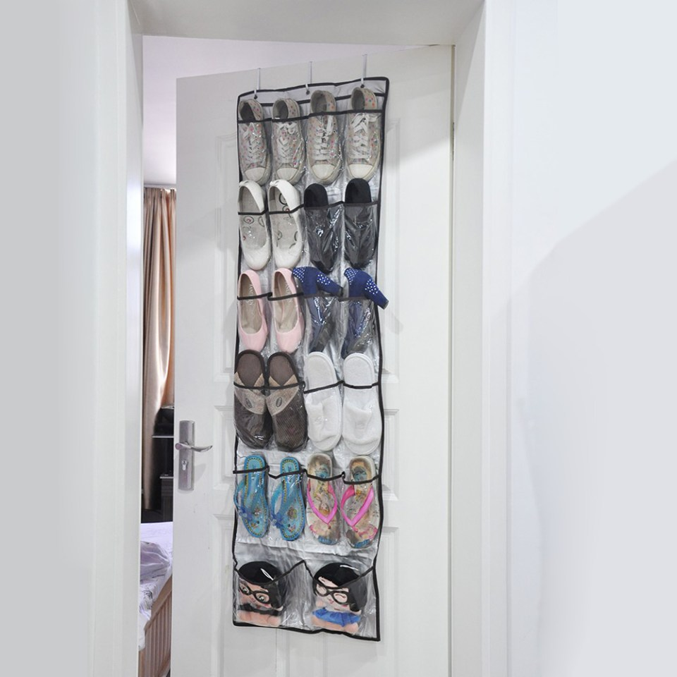 Behind the door shoe storage // Shoe organizing and storage ideas // organized home // storage solutions // closet organizing // small space storage solutions // www.SimplySpaced.com
