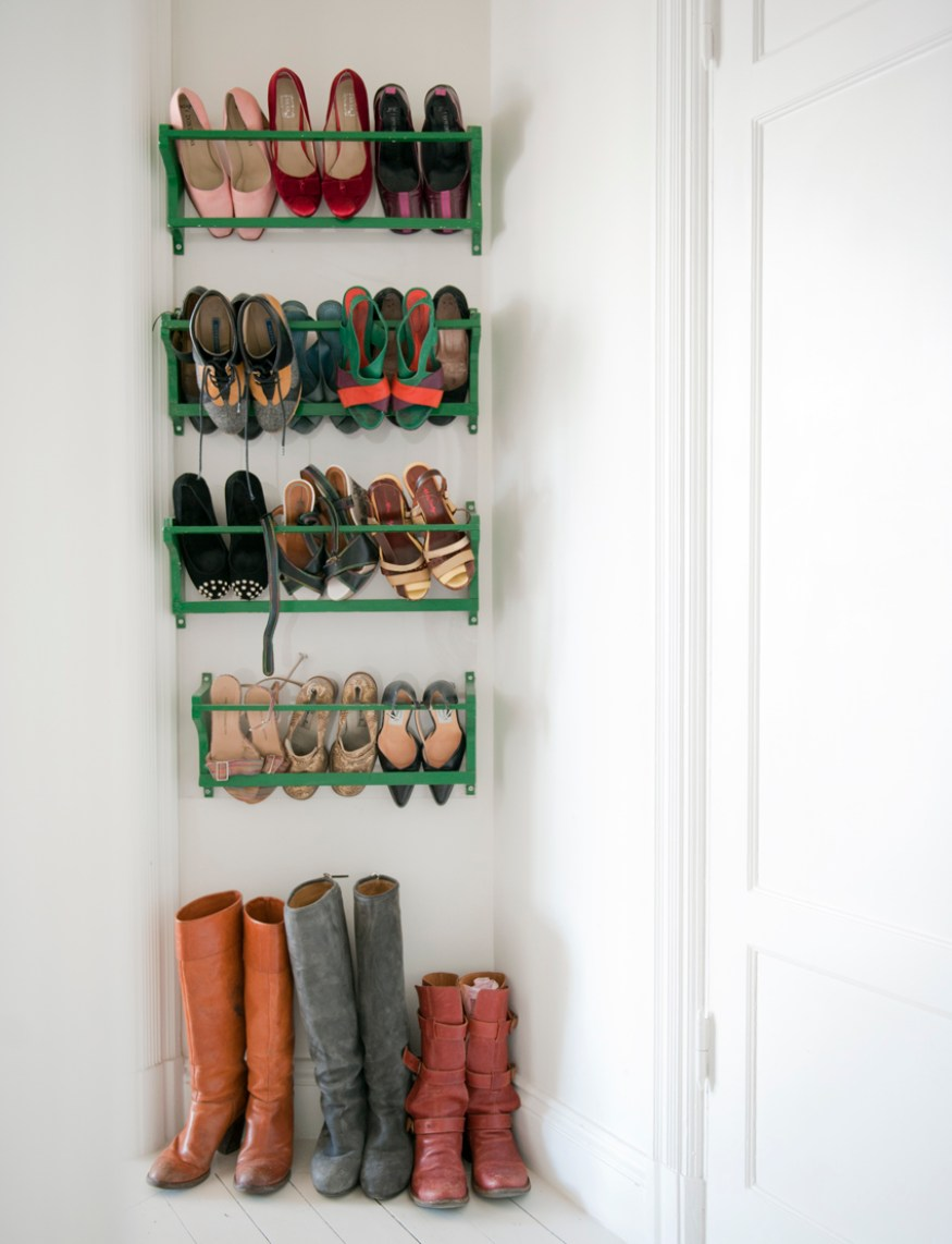 How to Organize your shoes // shoe storage ideas // magazine rack for storing shoes // www.simplyspaced.com