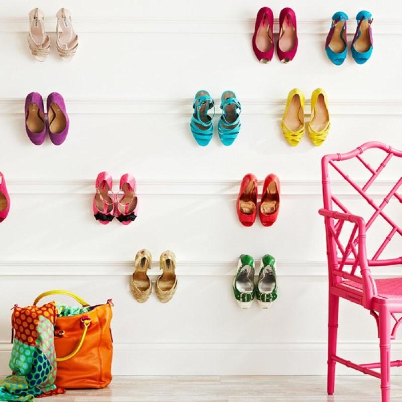 Organized closets // closet organizing // how to organize your shoes // shoe storage ideas // extra storage // DIY shoe storage // small space storage solutions // wall storage // www.SimplySpaced.com