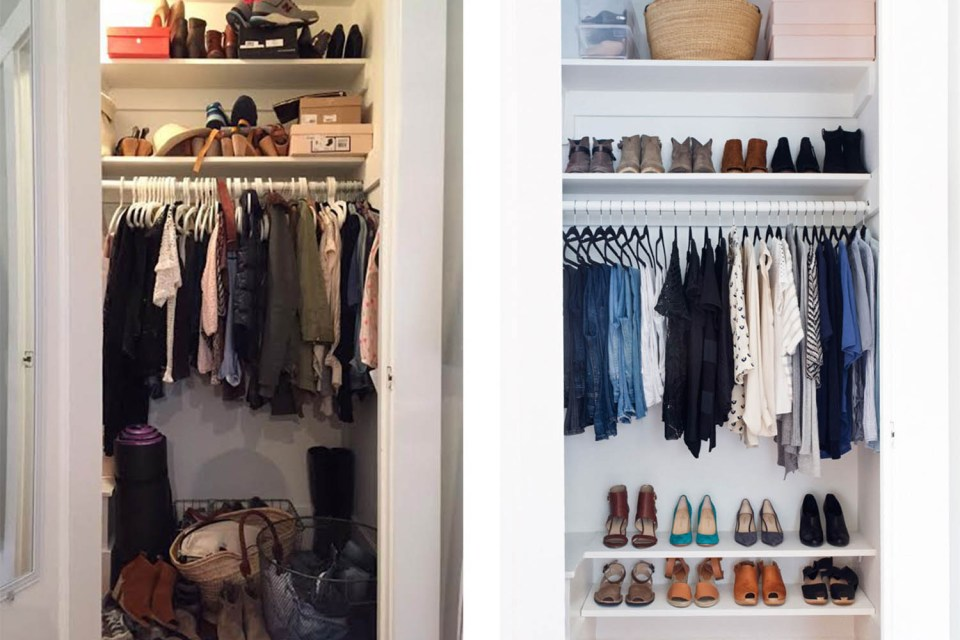 Closet organizing before and afters // organized wardrobe // transformation // clothing decluttering